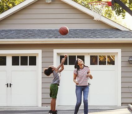 First Time Home Buyer Family Playing Basketball